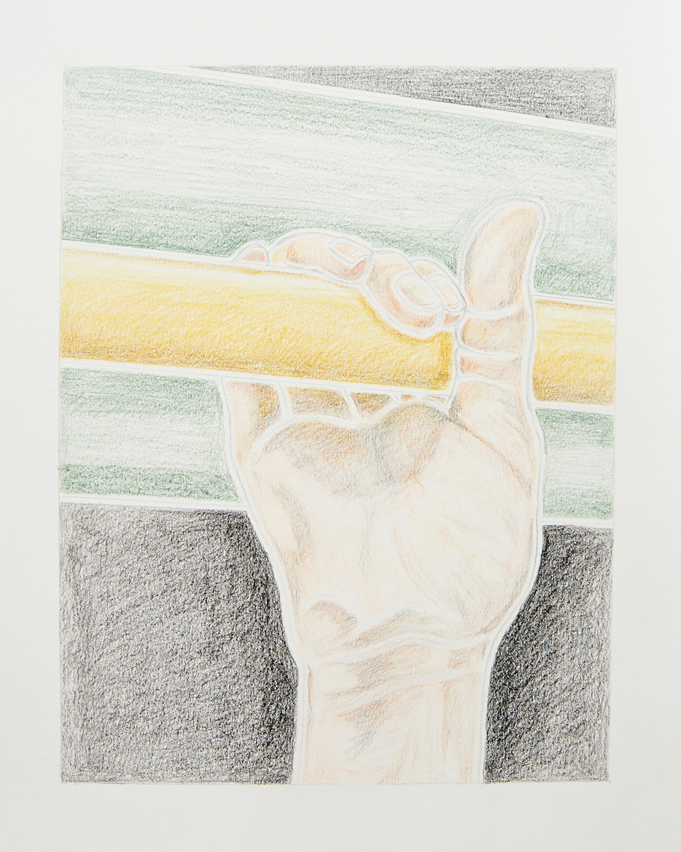 Milly Peck, A Matter of Routine III, 2020. Coloured pencil on 130gsm acid free paper. 42 x 29.7 cm.