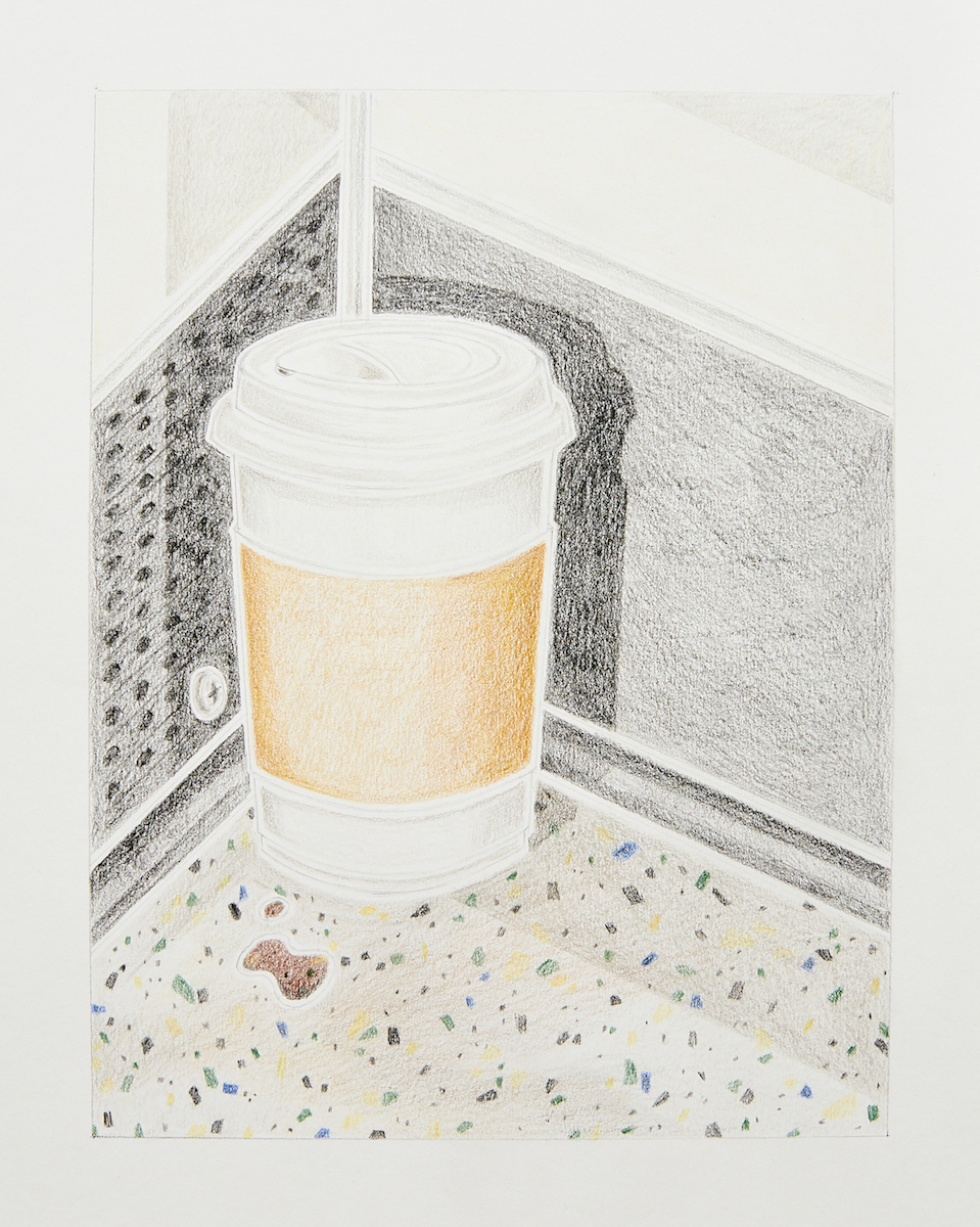 Milly Peck, A Matter of Routine II, 2020. Coloured pencil on 130gsm acid free paper. 42 x 29.7 cm.