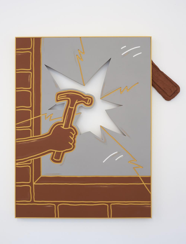 Milly Peck, LOUD KNOCK 2, 2017. Emulsion on board, concrete, polystyrene. 93 x 70 x 5 cm.