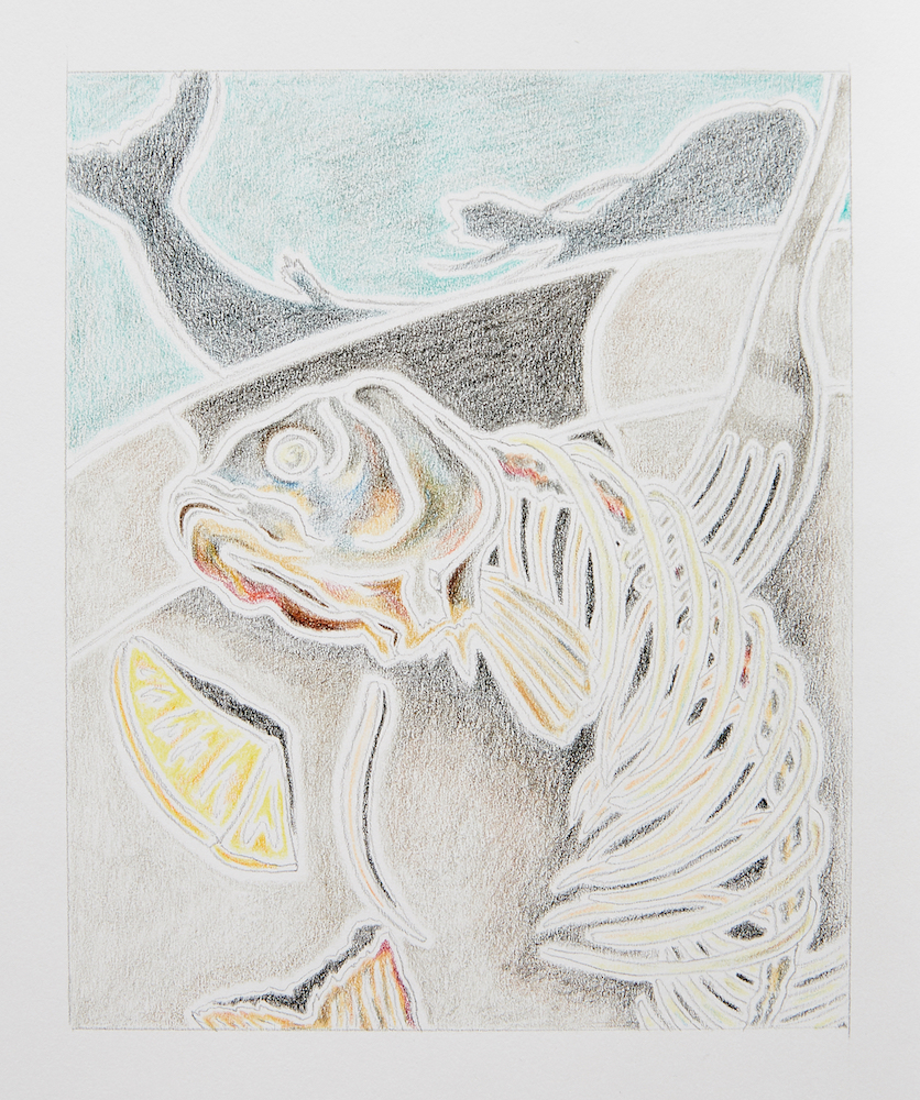 Milly Peck, Leftovers, 2020. Coloured pencil on acid free smooth drawing paper 96gsm. 29 x 21 cm.
