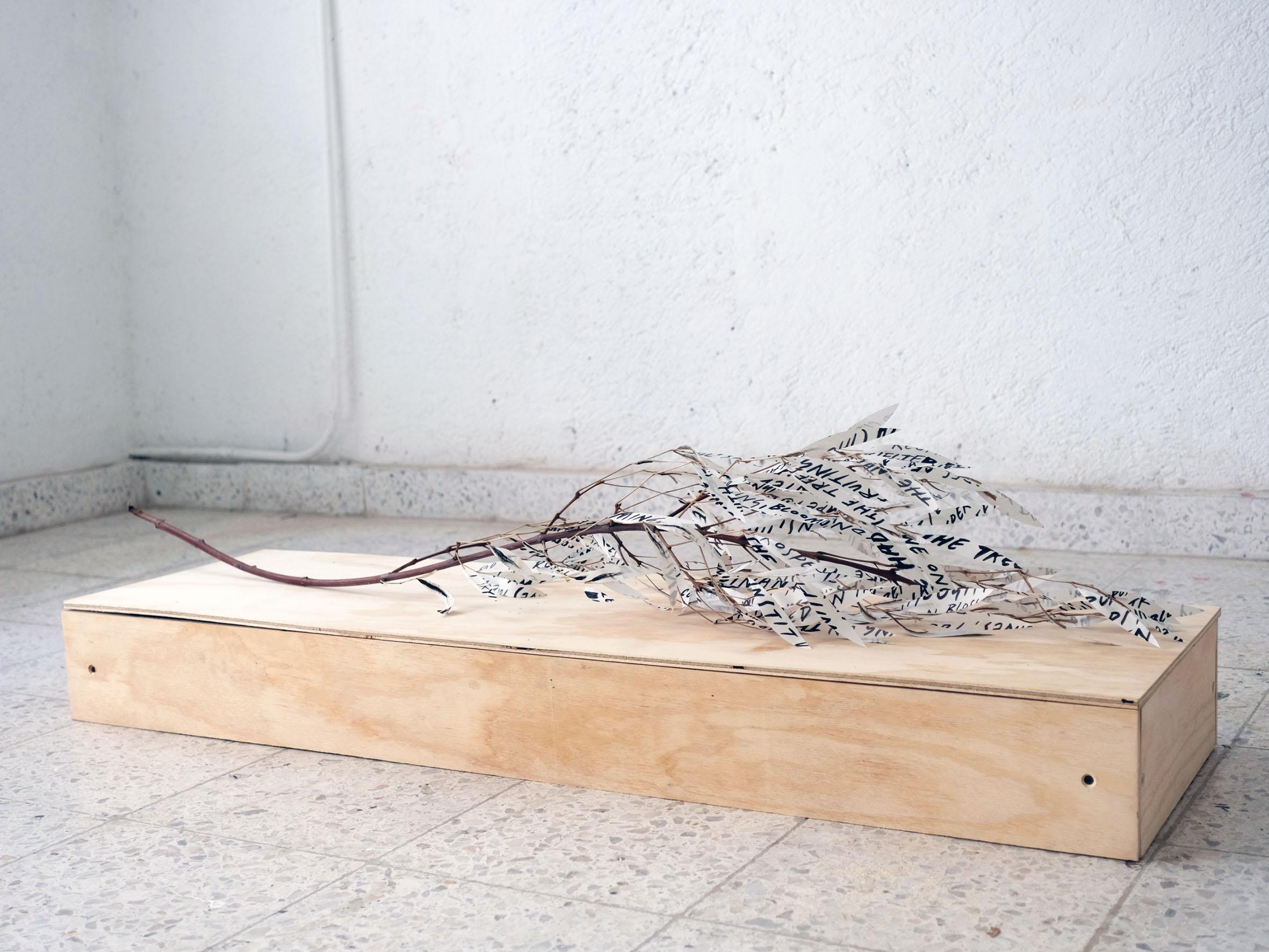 Charlie Godet Thomas, The Soft-Dying Day, 2020. Acrylic on newsprint, branch, glue, screws, timber. 133 x 35 x 36 cm.