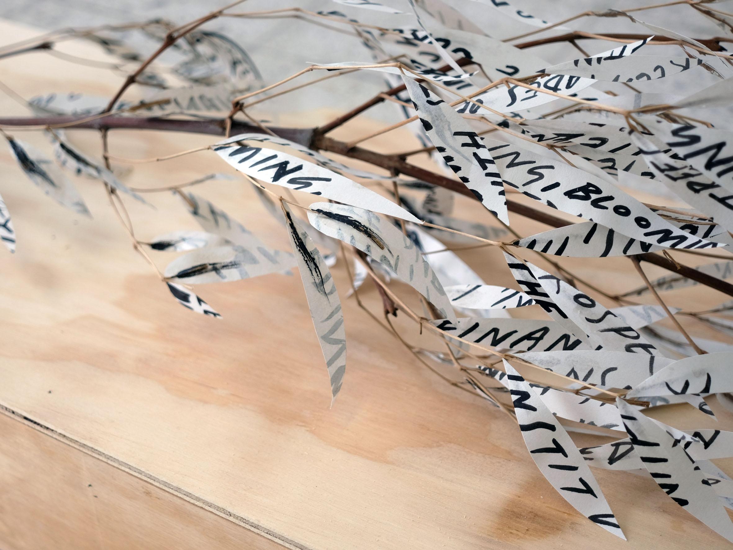 Charlie Godet Thomas, The Soft-Dying Day (detail), 2020. Acrylic on newsprint, branch, glue, screws, timber. 133 x 35 x 36 cm.