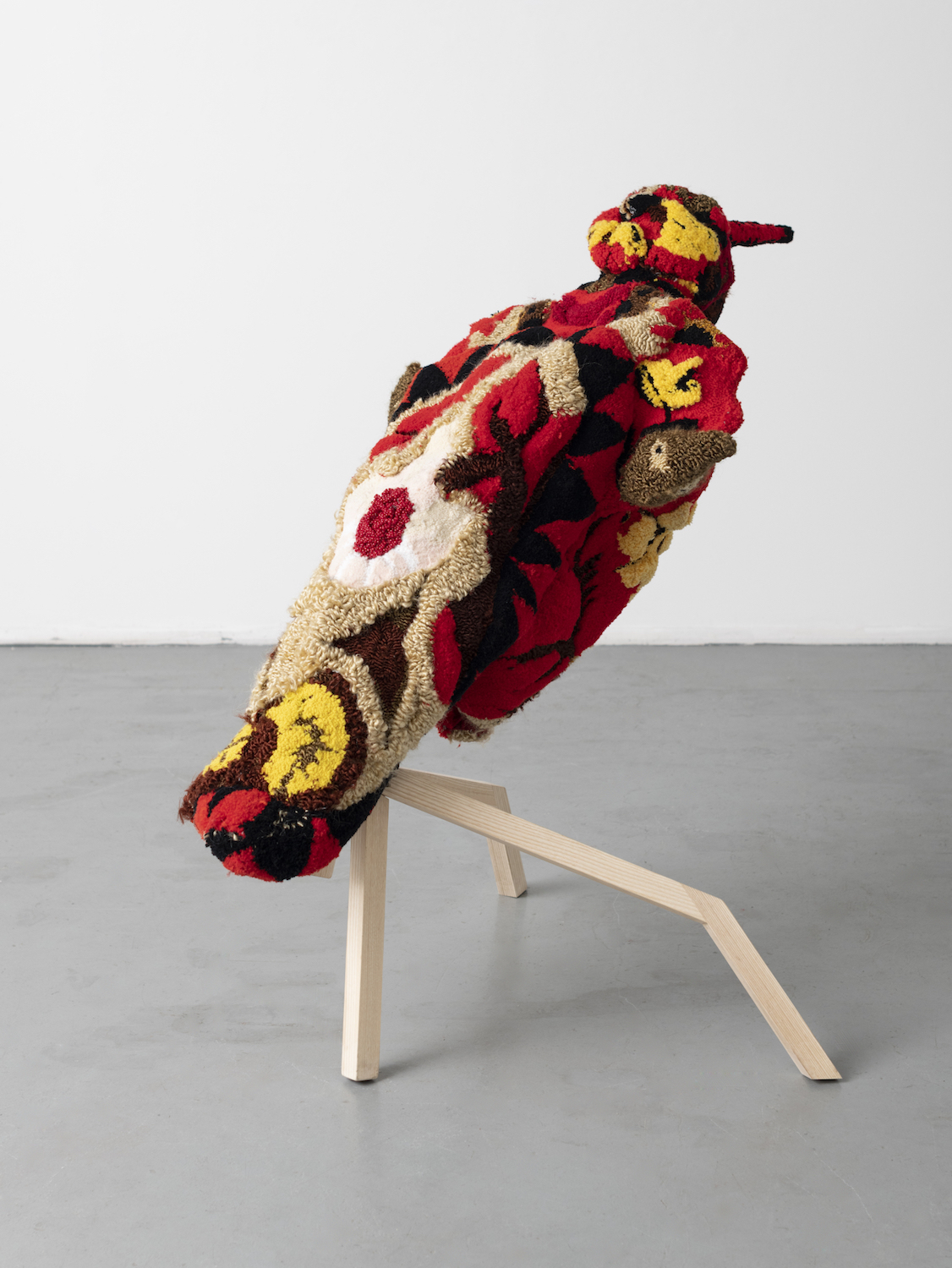 Anna Perach, Mother of Egg, 2019. Tufted yarn, beading, wooden frame. 90 x 150cm.