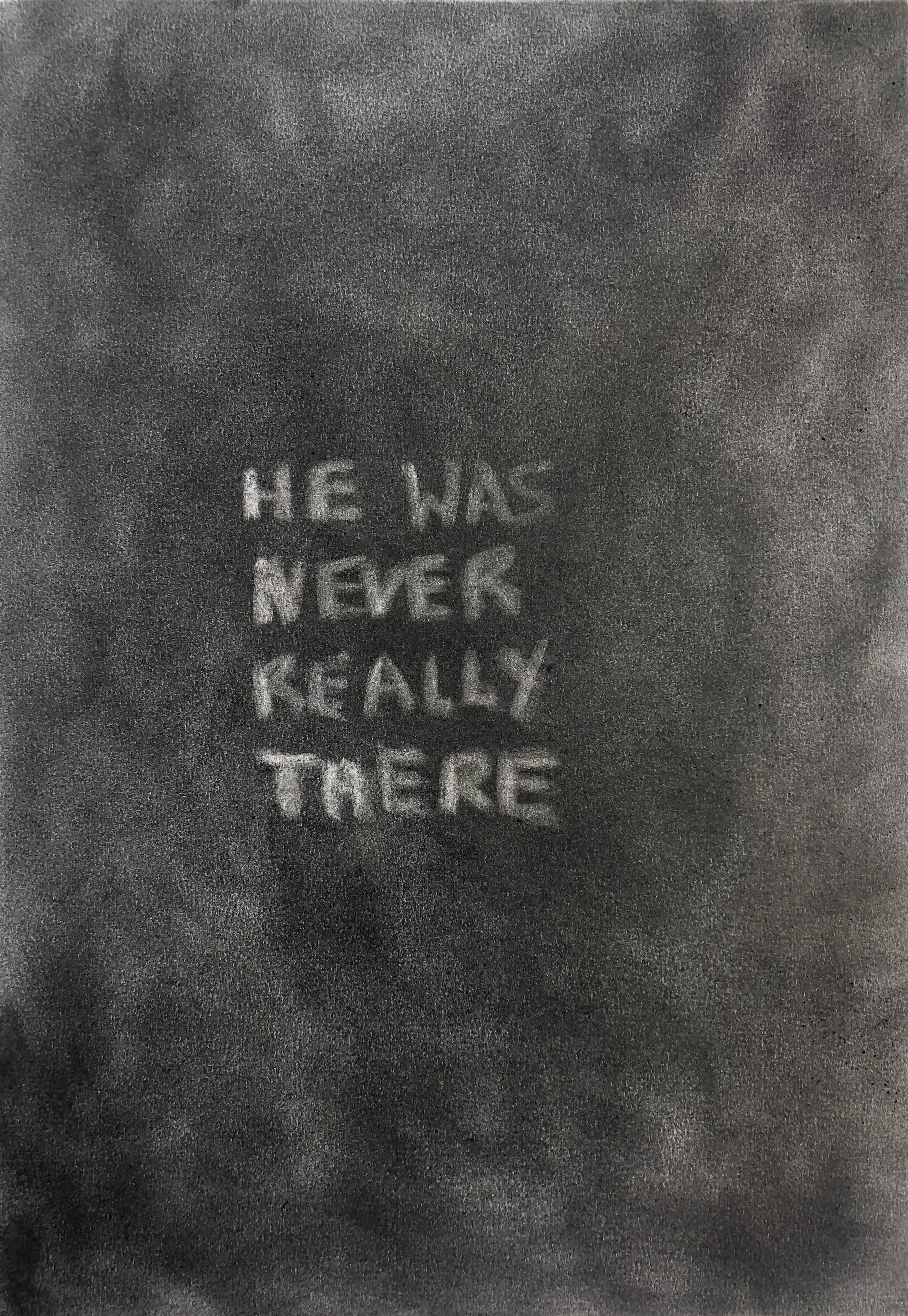 Tim Etchells, Never There, 2020. Charcoal on archival paper. 29.7 x 42 cm.