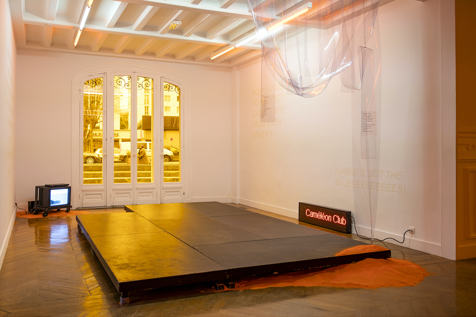 Tarek Lakhrissi, Caméléon Club, 2019. Installation view. La Galerie CAC, Noisy-Le-Sec, FR. Photography: Pierre Antoine.