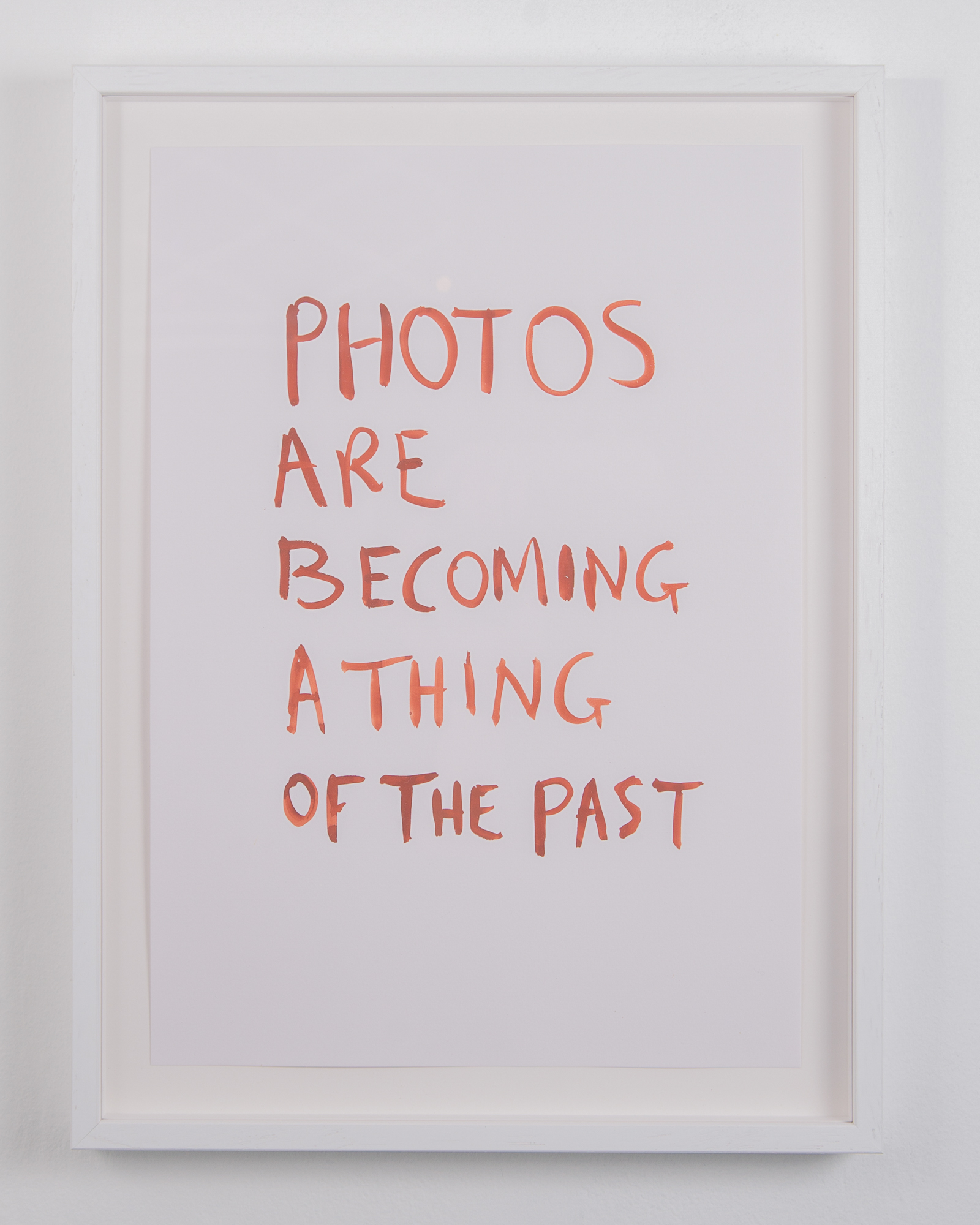 Tim Etchells, A Thing of the Past, 2020. Tempera on archival paper. 42 x 29.7 cm.