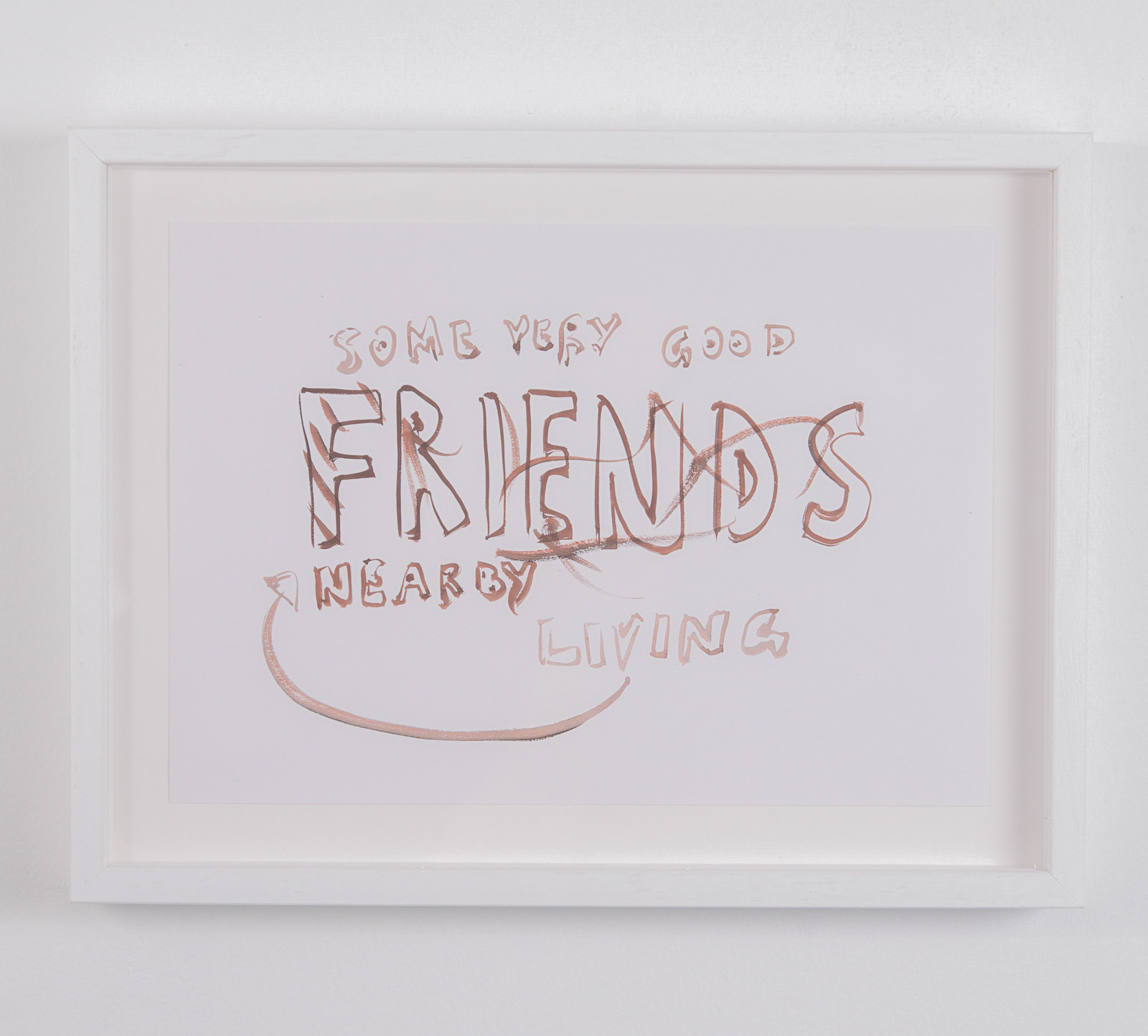 Tim Etchells, Some Very Good Friends, 2020. Tempera on archival paper. 21 x 29.7 cm