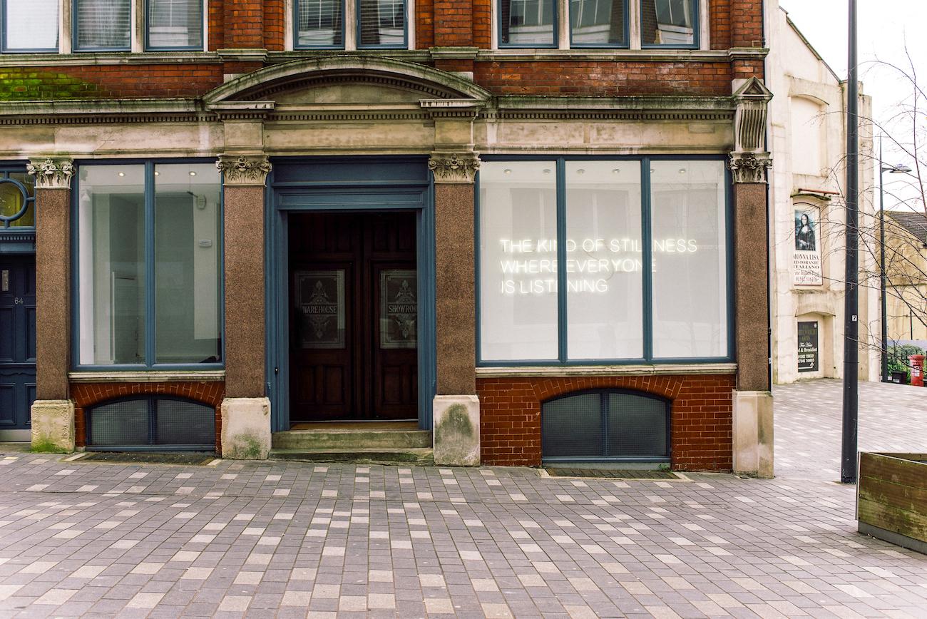 Tim Etchells, Hearing Voices, 2020. Installation View. Departure Lounge, Luton, UK. Photographer: Aleksandra Warchol.