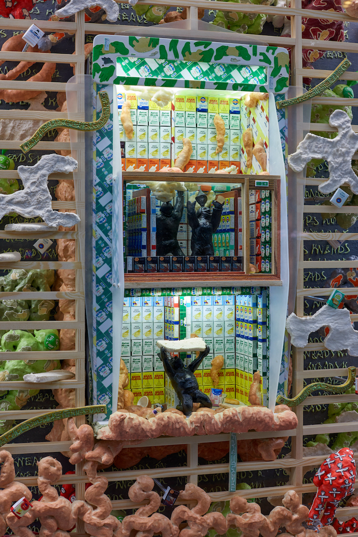 Kara Chin, Sims Dream Flour Shop (detail), 2021. Mixed Media*. 193 x 80 x 30 cm. Photographer: Jonathan Bassett.