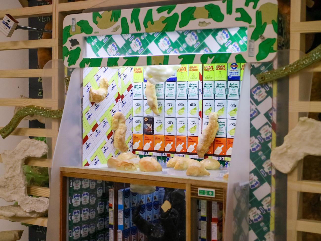 Kara Chin, Sims Dream Flour Shop (detail), 2021. Mixed Media*. 193 x 80 x 30 cm. Photographer: Harley Kuyck-Cohen.