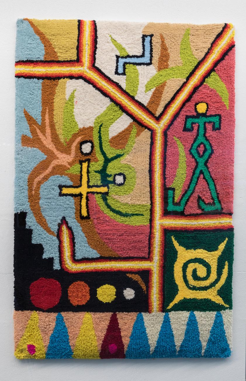 Manutcher Milani, Circus of Oz, 2021. Wool, silicon, monk fabric. 125 x 80 cm.