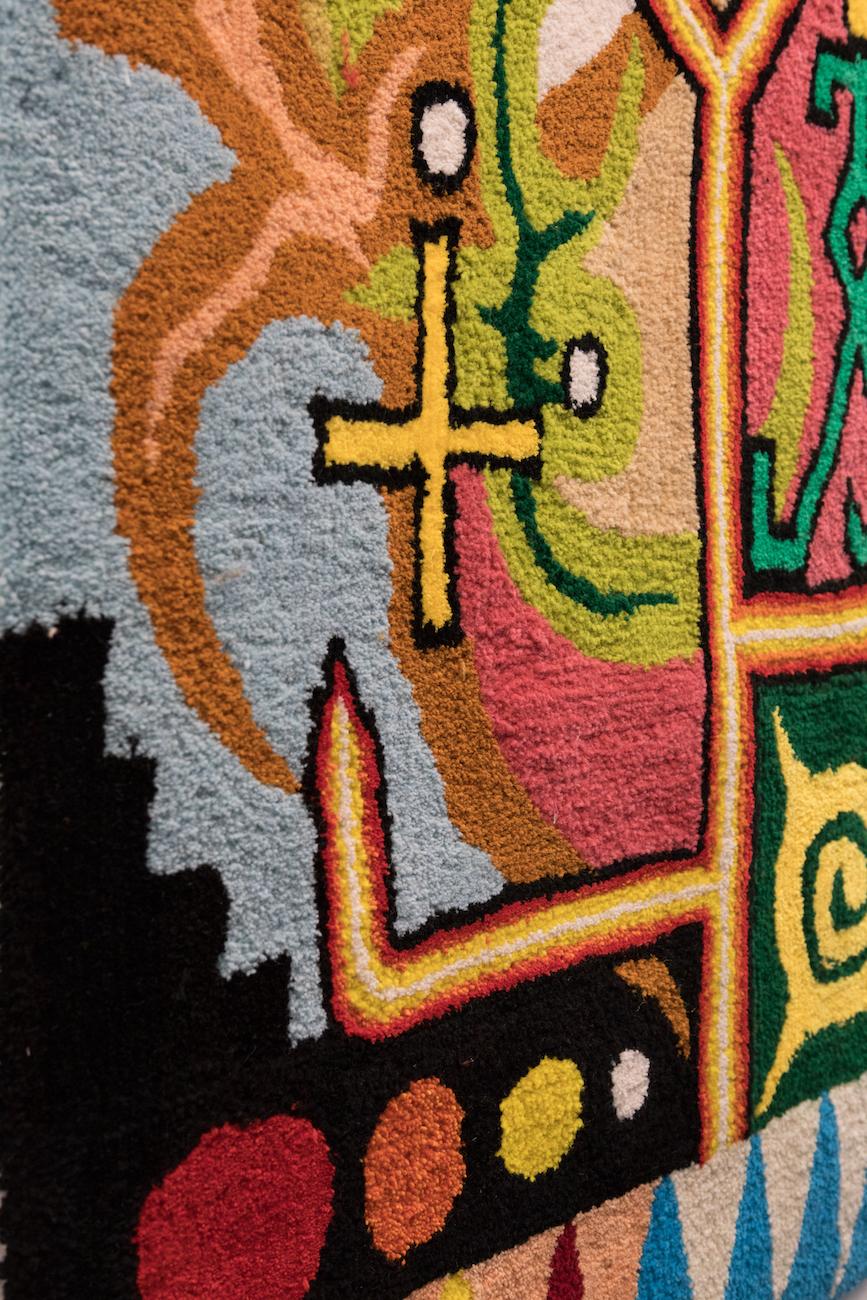 Manutcher Milani, Circus of Oz (detail), 2021. Wool, silicon, monk fabric. 125 x 80 cm.