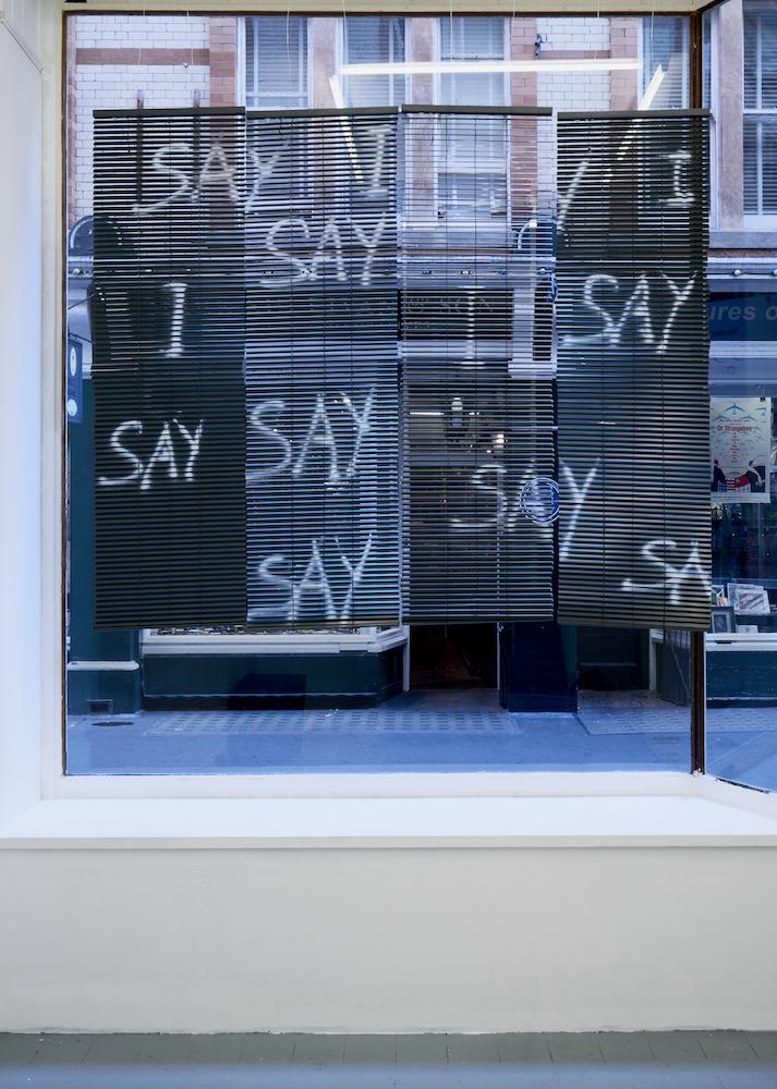 Nicole Bachmann, I Say, I Say, I Say, 2017. Blinds, Spray paint. 120 x 60 cm.