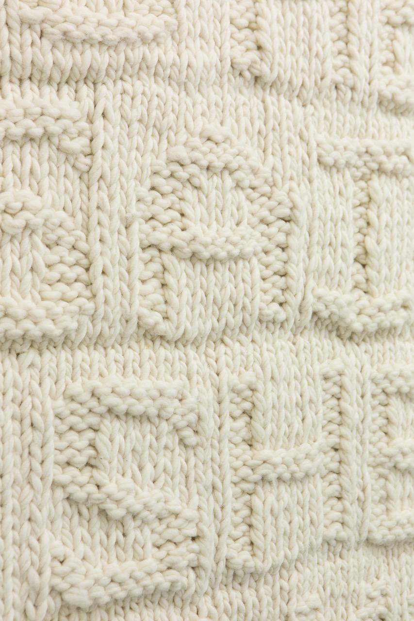 Nicole Bachmann, she said, she says (detail), 2014. Hand knitted wool rug. 200 x 135 cm.