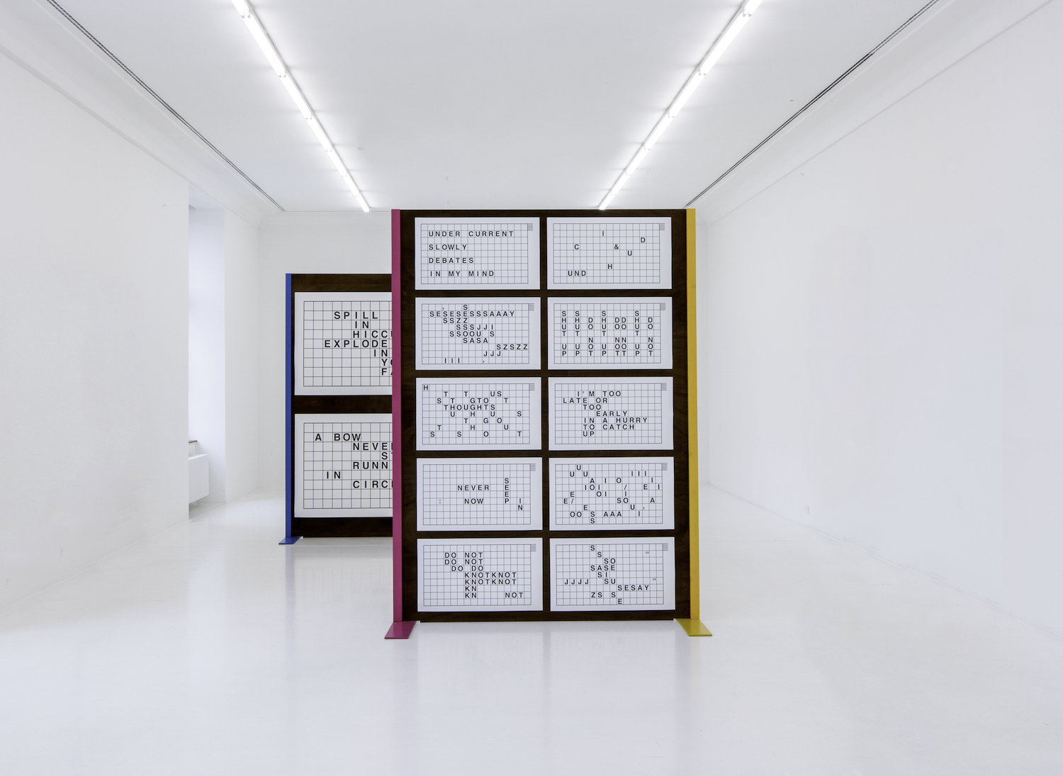 Nicole Bachmann, Grids, 2017. 34 laser prints on 200gsm matt paper. Dimensions variable (site-specific dimensions). Presented here: 109.5 x 188 cm / 50 x 86 cm. Installation view at Helmhaus Museum Zurich, CH.