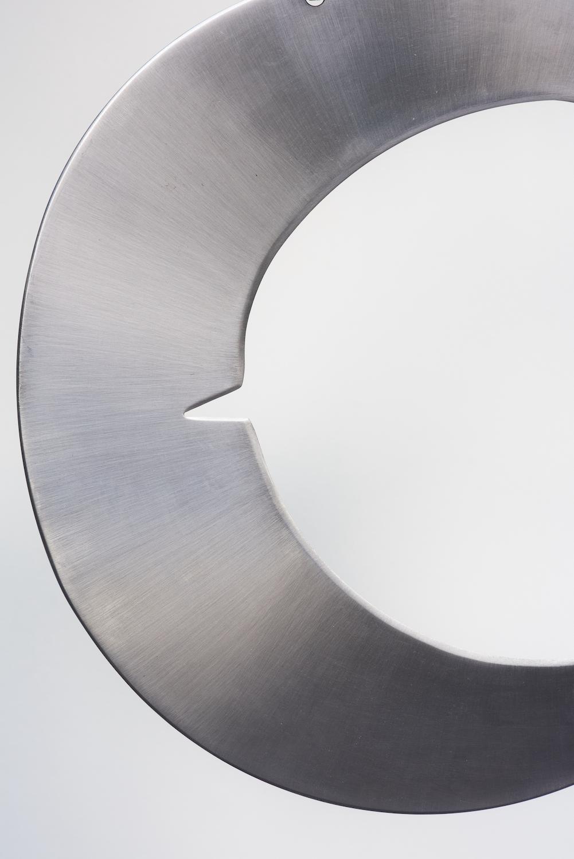 Tarek Lakhrissi, BETRAYING THE MOON (detail), 2021. Steel and steel chains. 34 x 40 x 0.5 cm. Photographer: Jonathan Bassett.