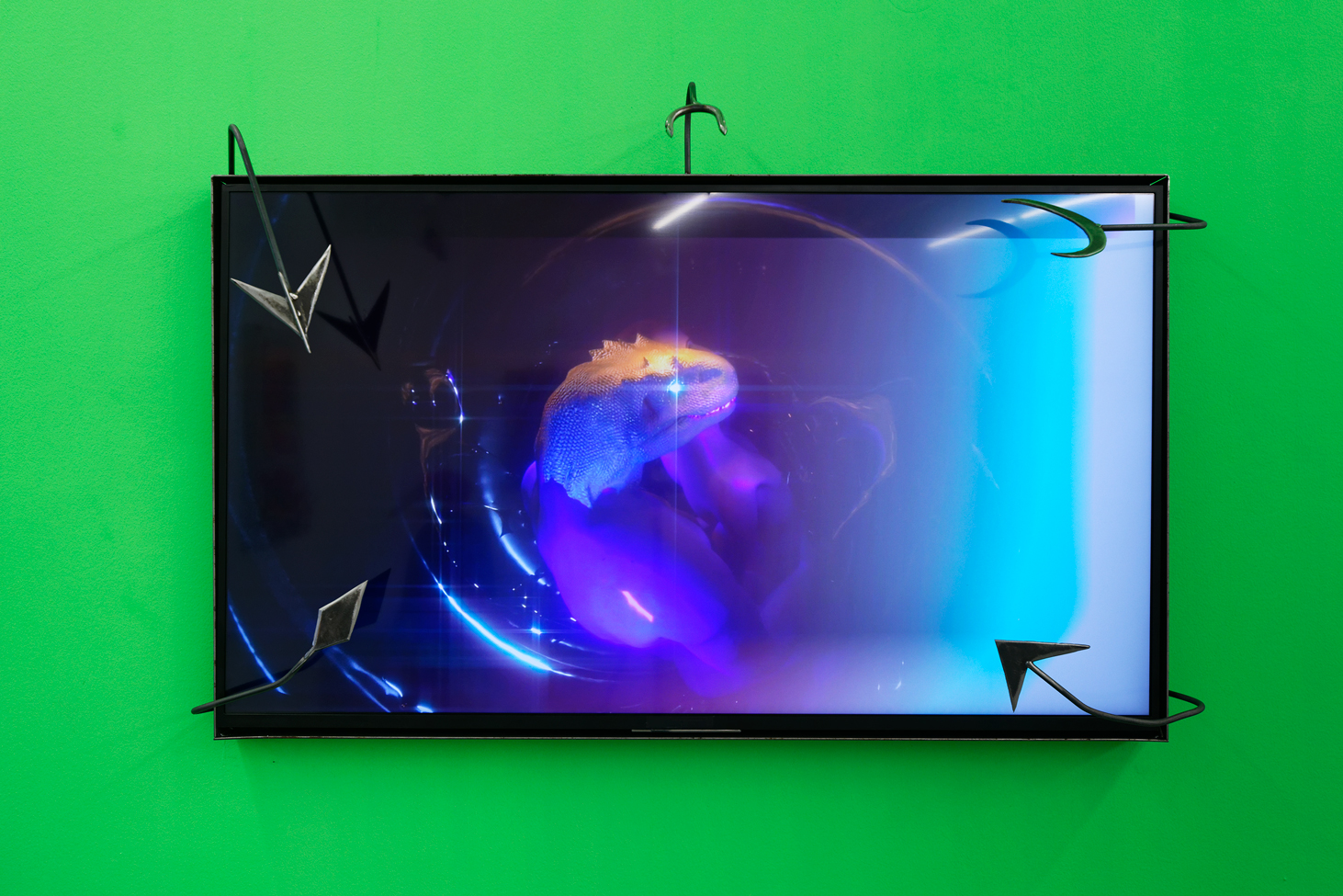 Tarek Lakhrissi, The Art of Losing (extract) and Frame for The Art of Losing, 2021. HD single channel video and metal frame. 00:01:35 and 144 x 98 x 45 cm. Installation view at Maison Populaire, Montreuil, FR. Photographer: Aurélien Mole.