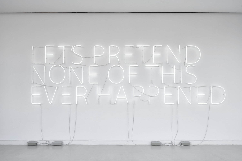 Tim Etchells, Lets Pretend (Large), 2014. Neon, 4 transformers. 210 x 535 cm. Edition of 3 (+1AP). Photographer: Norbert Miguletz.