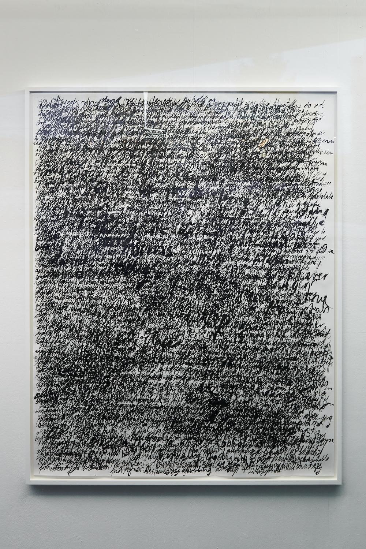 Nicole Bachmann, around in spirit, 2021. Indian ink on 120gsm paper. Framed. 190 x 150 cm. Photographer: Nici Jost.