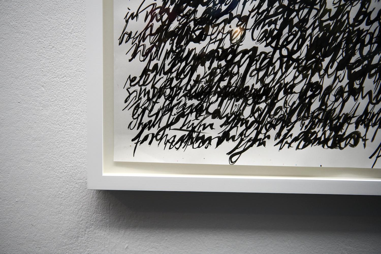 Nicole Bachmann, around in spirit (detail), 2021. Indian ink on 120gsm paper. Framed. 190 x 150 cm. Photographer: Nici Jost.