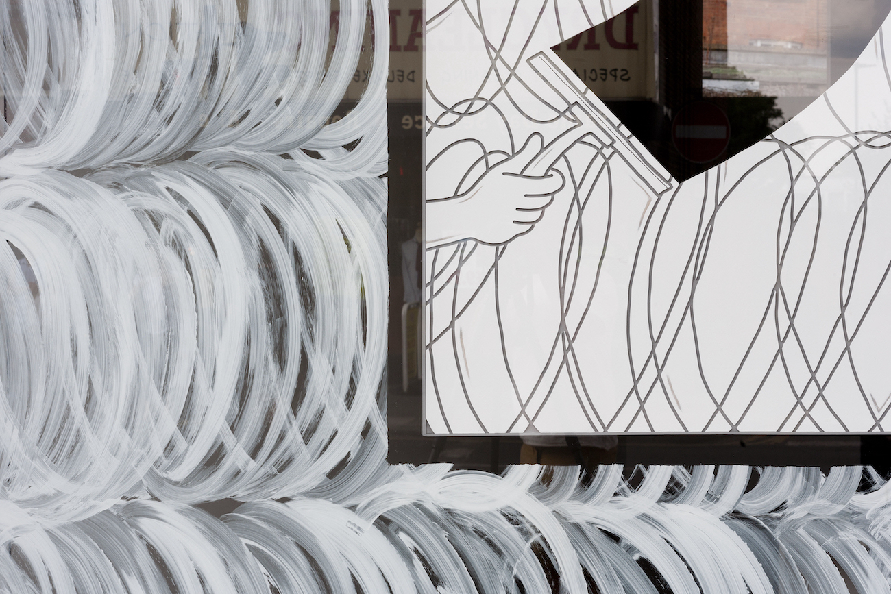 Milly Peck, The Slip (detail), 2018. Window installation. Dimensions variable.