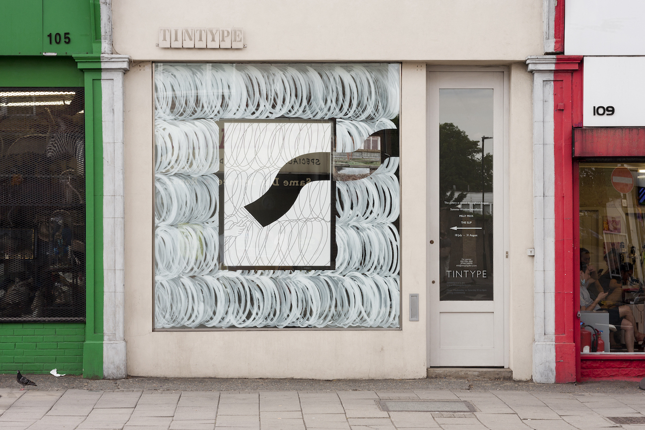 Milly Peck, The Slip, 2018. Window installation. Dimensions variable.