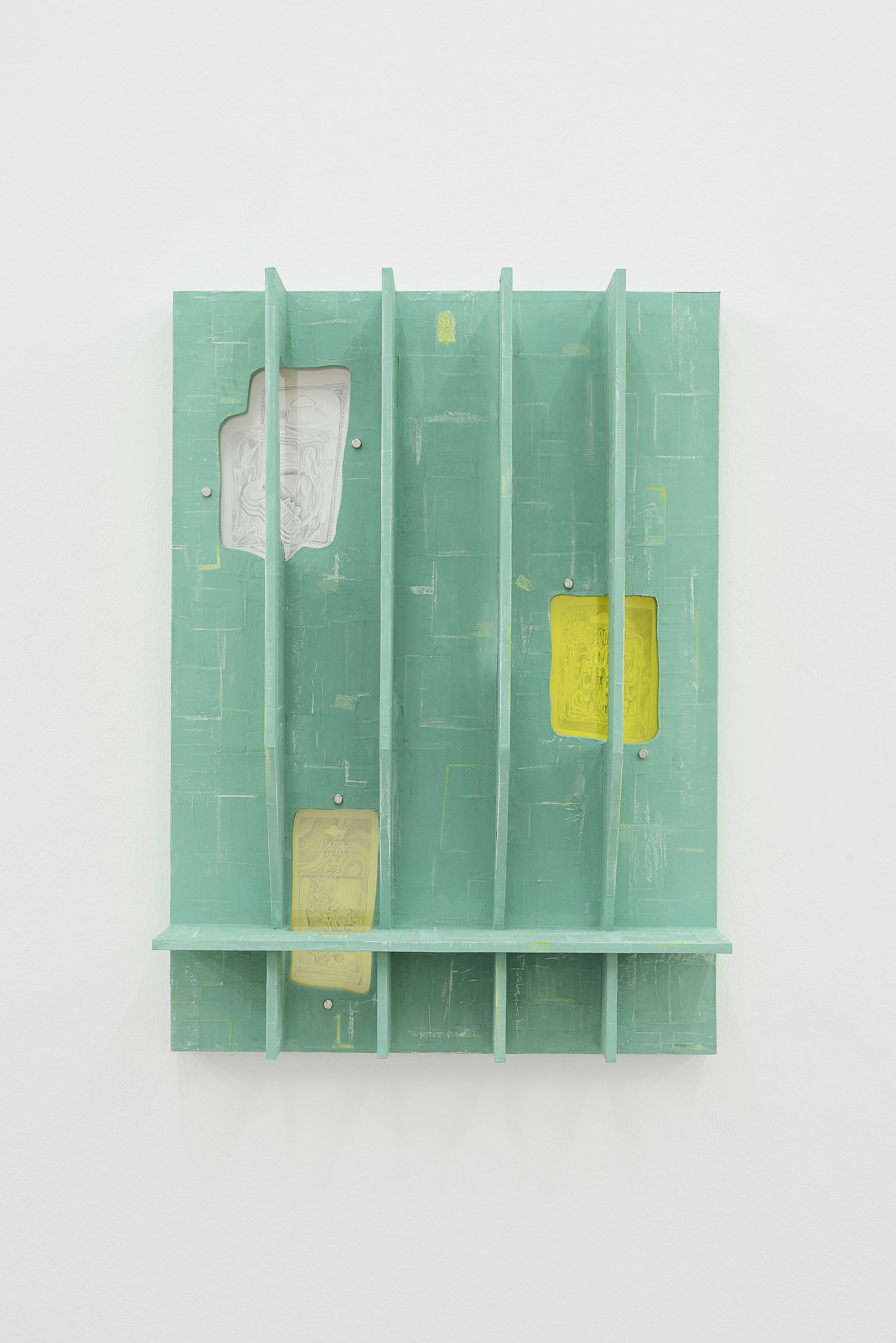 Milly Peck, Facciata I, 2021. Painted paper mâché on MDF, chalk, coloured pencil, perspex, cellophane, pencil on paper, bolts, magnets. 84 x 60 x 18 cm. Photographer: Roberto Apa.