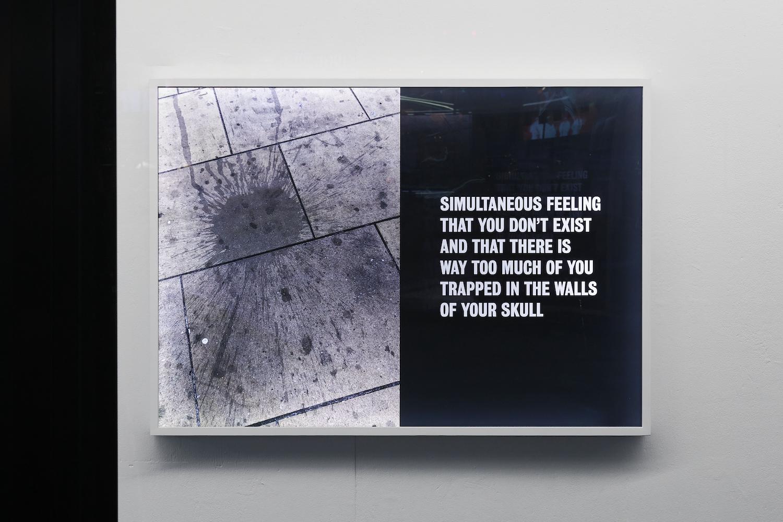 Tim Etchells, Feeling, 2021. Archival Duratrans print, wood, LEDs, plexiglas, acrylic paint. 87 x 122 x 6.5. Edition of 3 (+1 AP). Photographer: Nici Jost.