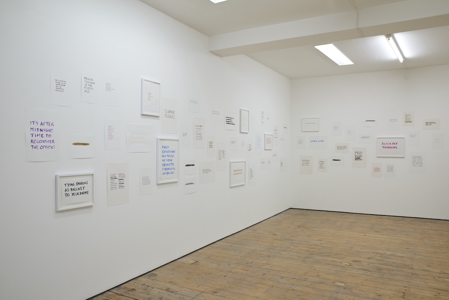 Tim Etchells, The Facts on the Ground, 2015. Installation view. VITRINE, London, UK.