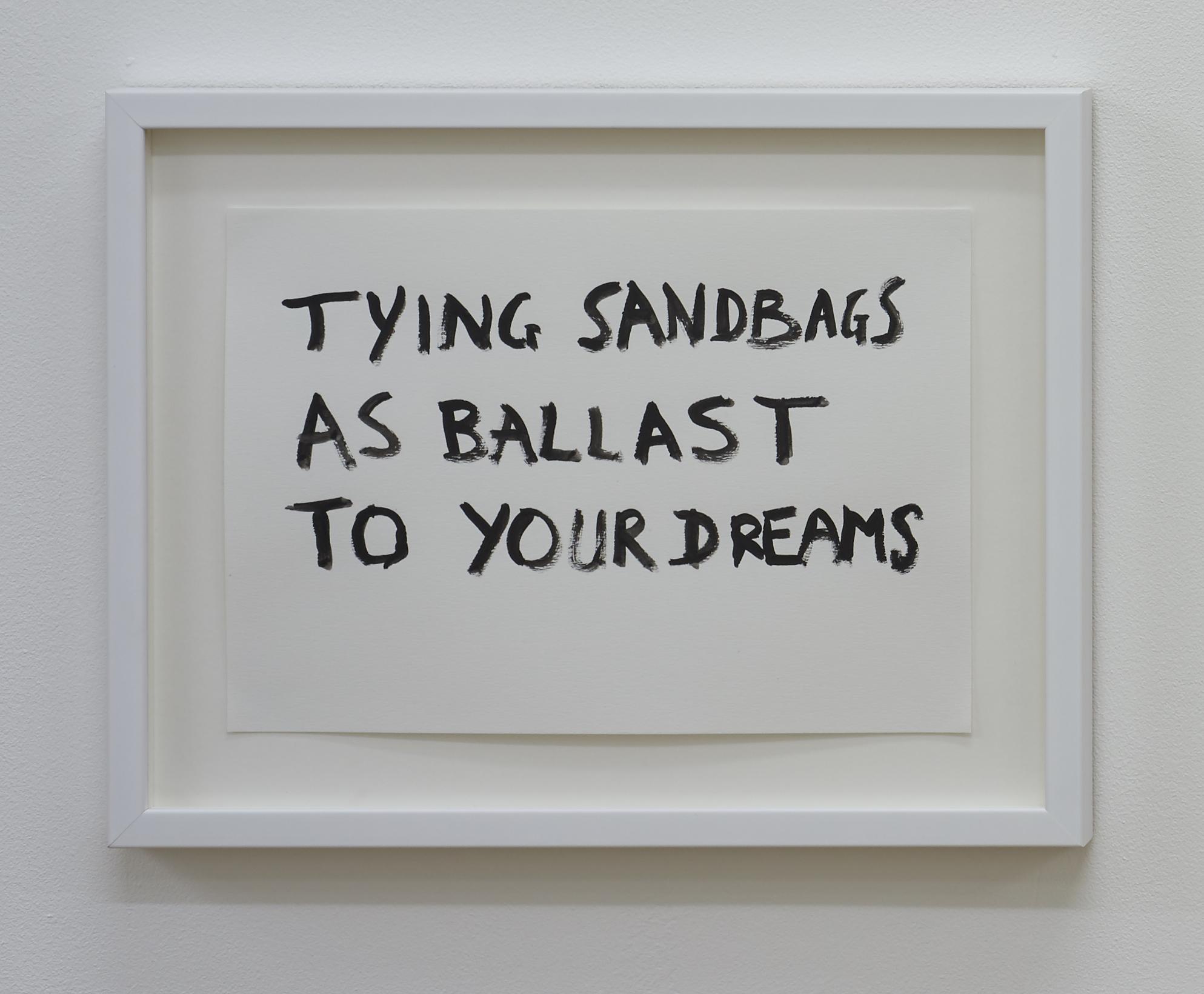 Tim Etchells, Ballast, 2015. Black acrylic on archival paper. Framed. 29.7 x 21 cm.