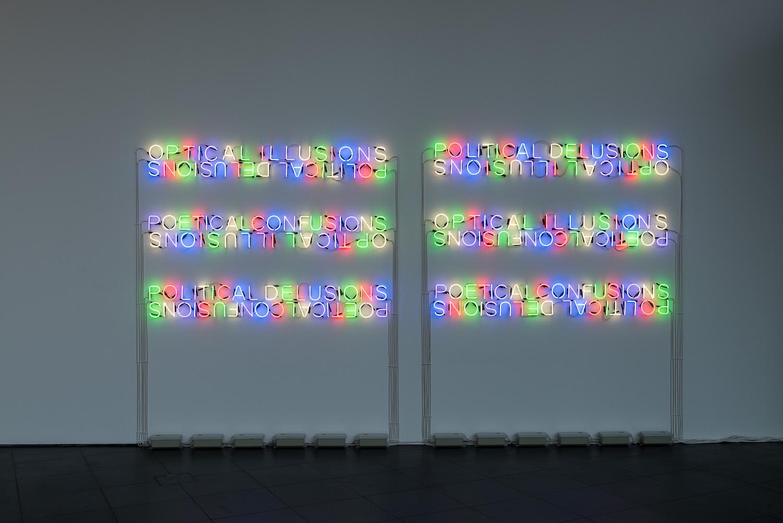 Tim Etchells, Mirror Pieces, 2014. Neon, twelve transformers. 436 x 148 cm.