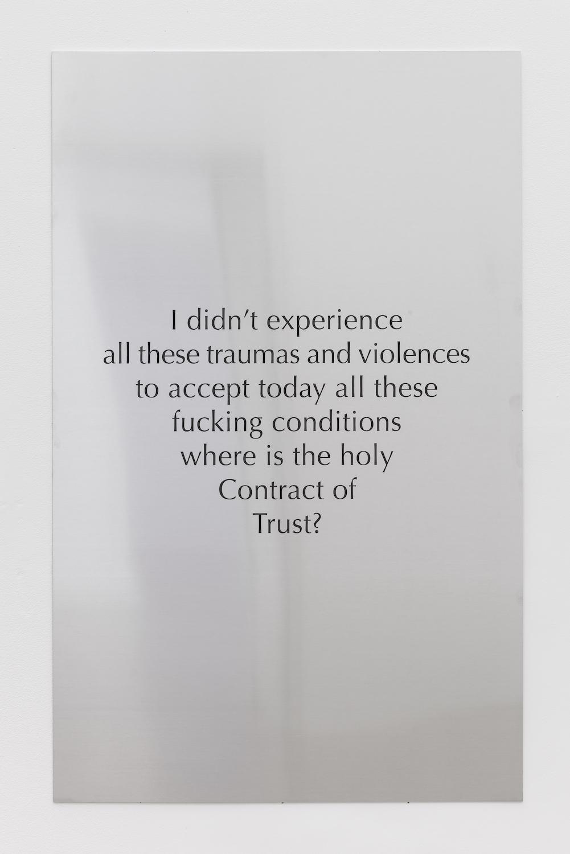 Tarek Lakhrissi, Holy Contract, 2021. Aluminium. 110 x 70 x 0.5 cm. Edition of 3 (+1AP). Photographer: Mark Blower.