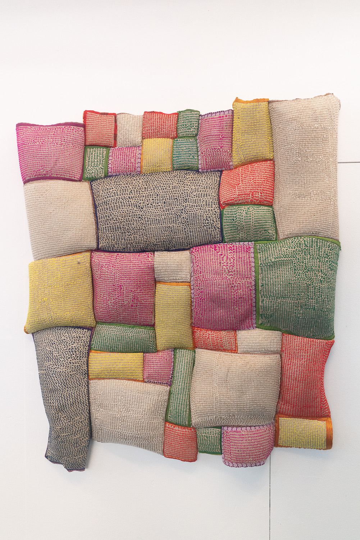 Ashfika Rahman, Redeem (Sirajganj সিরাজগঞ্জ), 2021. Stitching on 'Shital pati' (a local handmade fabric made by indigenous community Sirajganj) with wool and recycled Saree and and Dhoti. 163 x 151 x 12 cm. Unique.