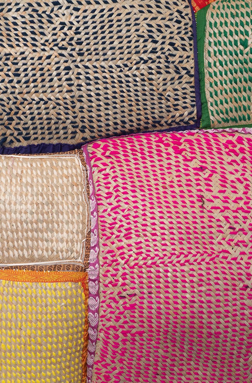 Ashfika Rahman, Redeem (Sirajganj সিরাজগঞ্জ) (detail), 2021. Stitching on 'Shital pati' (a local handmade fabric made by indigenous community Sirajganj) with wool and recycled Saree and and Dhoti. 163 x 151 x 12 cm. Unique.