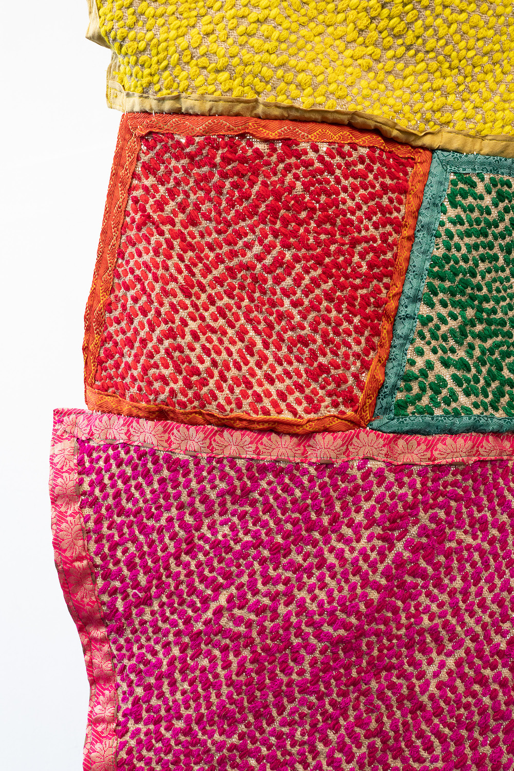 shfika Rahman, Redeem (Natore) (detail), 2021. Stitching on 'Burlap' (a local handmade fabric made by the indigenous community Natore) with recycled Saree and Dhoti. 233 x 173 x 12 cm. Unique.