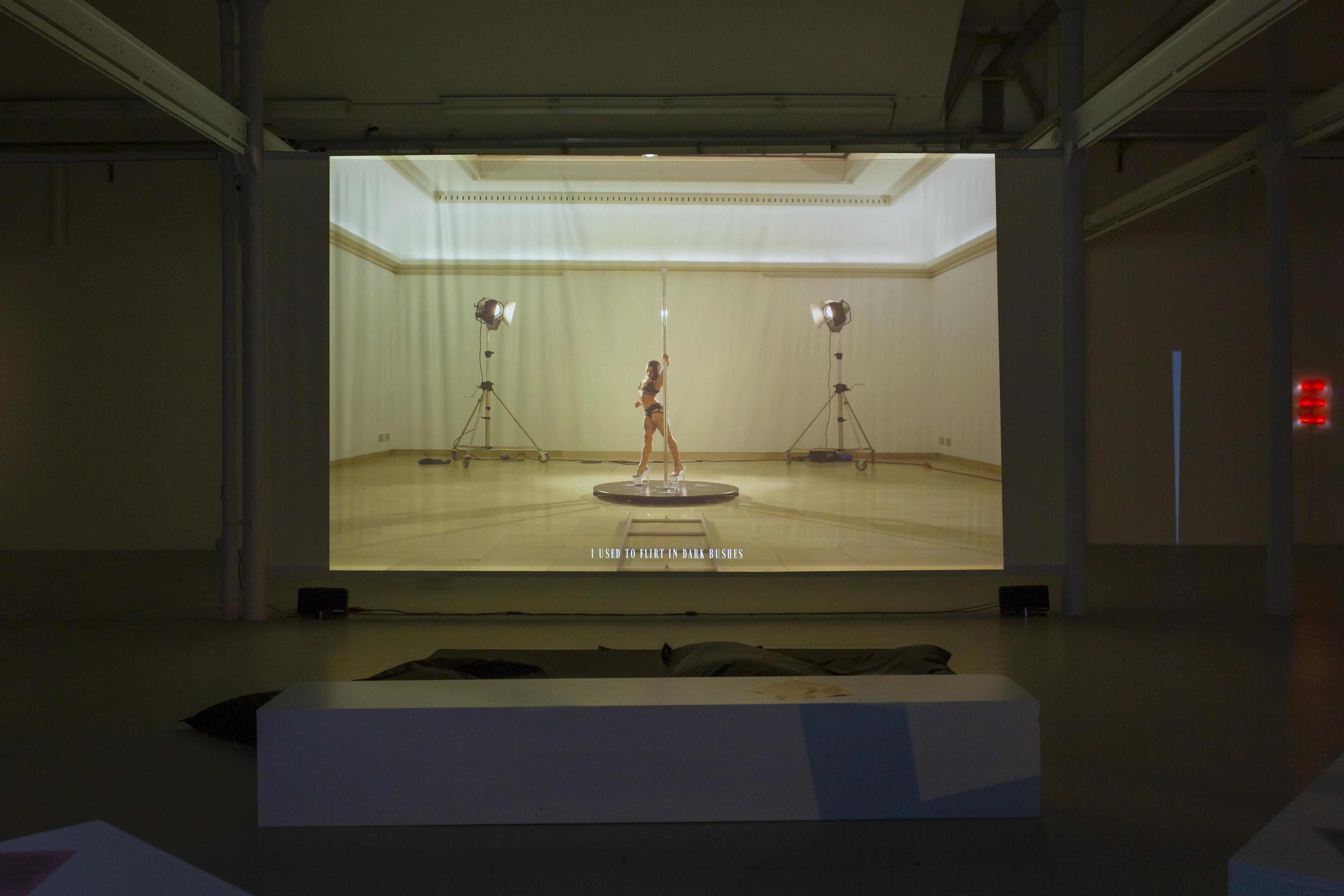 Tarek Lakhrissi, Spiraling, 2021. HD Single Channel Video, 4:3. 00:07:00. Edition 5 (+1AP). Installation view at Shedhalle, Zürich, CH. Photographer: Carla Schleiffer.