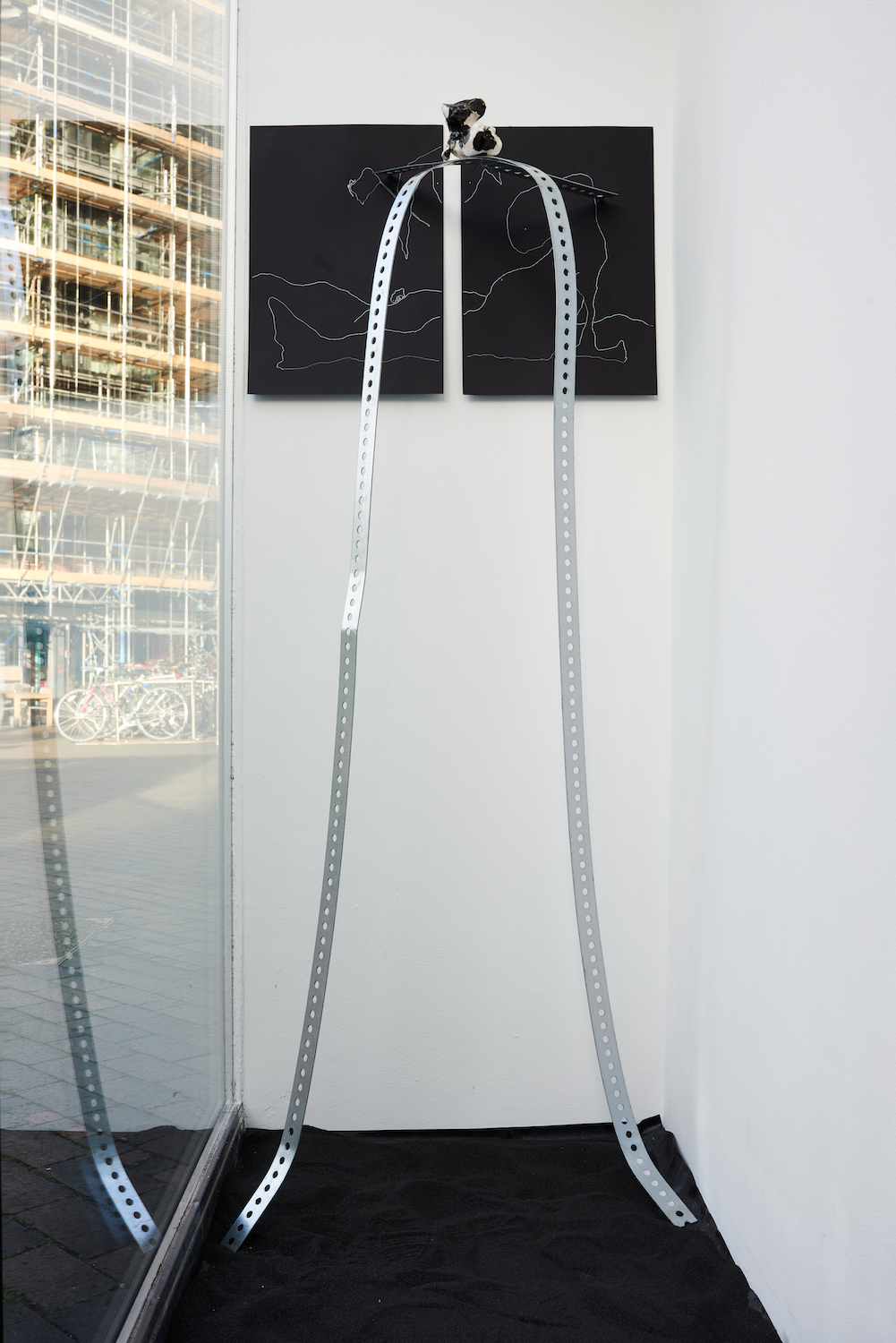 Sophie Jung, Whim Weeper (scytheless), 2021. Punched metal, 2 Ink on archival paper drawings, glazed ceramic. 160 x 60 x 50 cm. Unique. Photographer: Jonathan Bassett.