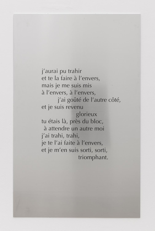 Tarek Lakhrissi, Trahi trahi, 2021. Aluminium, digital print. 110 x 70 x 0.5. Edition of 3 (+1AP).