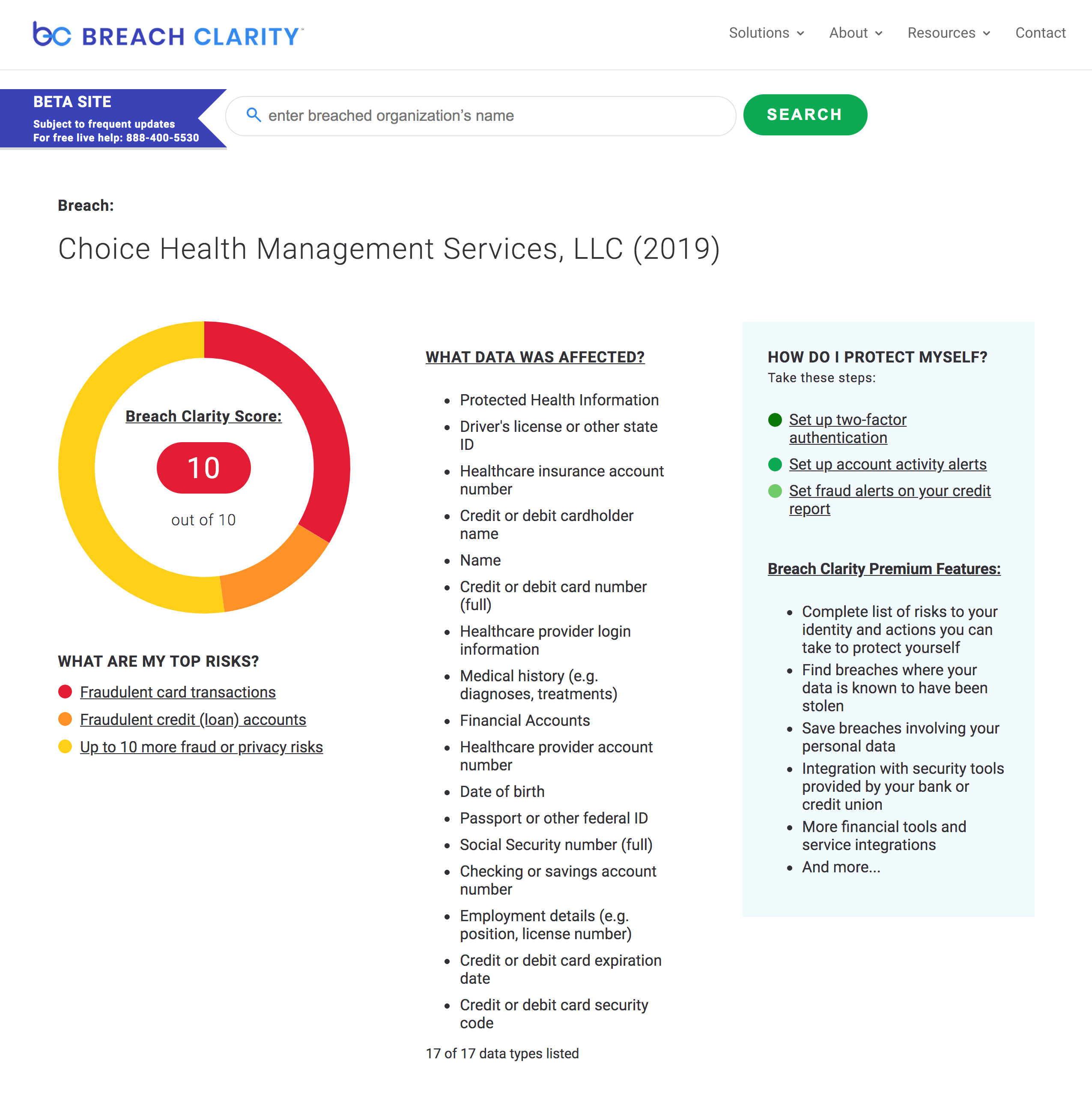 Choice Health Management Services, LLC 10 Breach Clarity