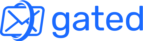 Gated's logo showing an email in transision.