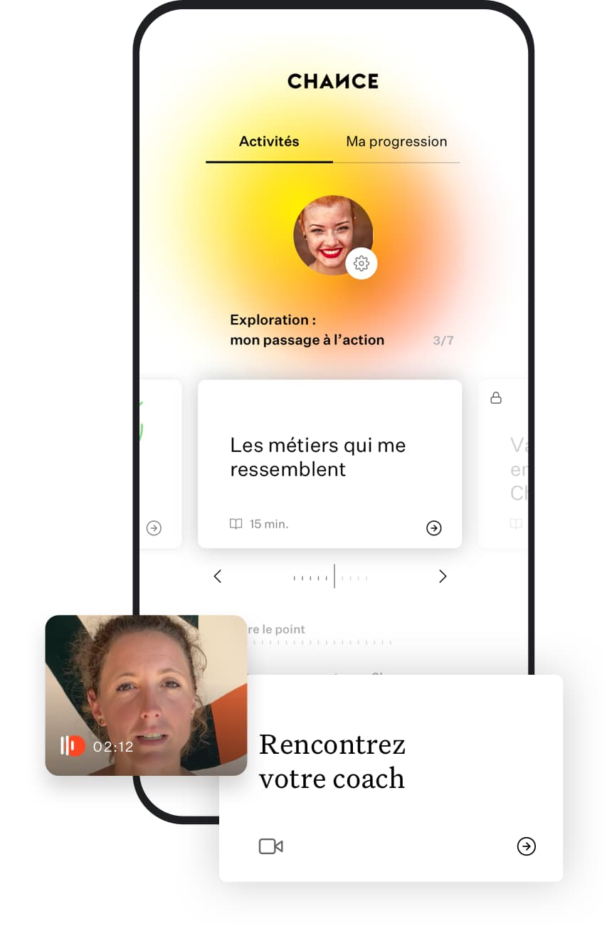 Téléphone montrant l'interface d'autocoaching et de vidéo-coaching