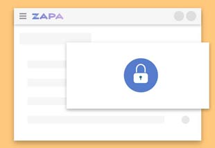 Zapa Client Portal showing illustration of security modal