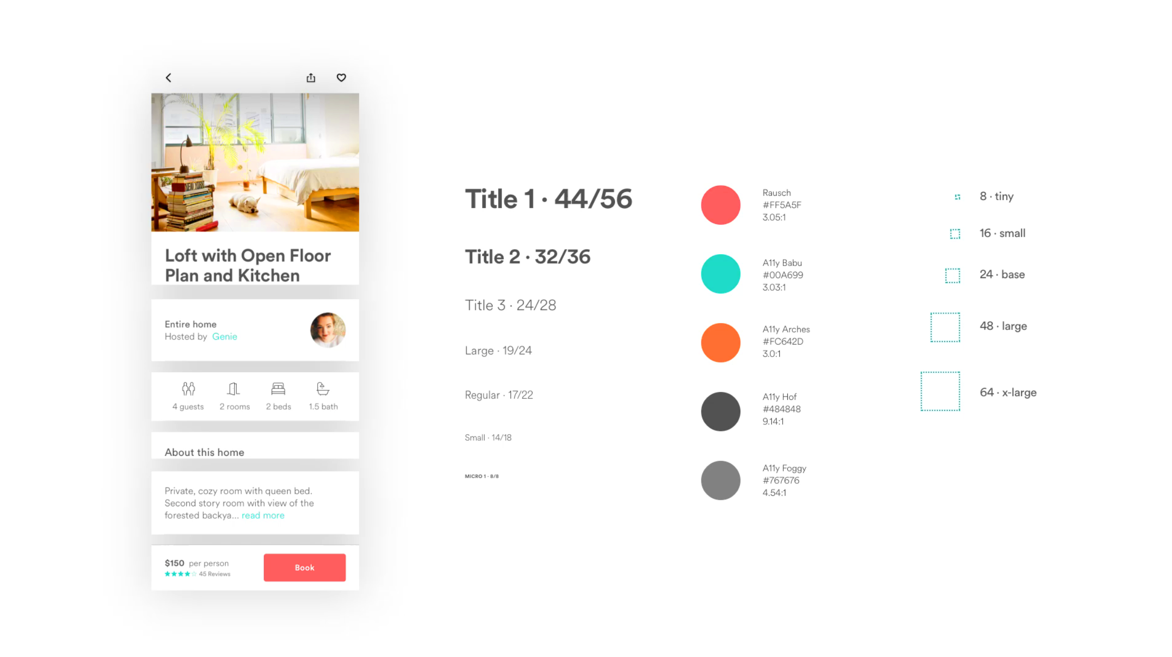 UI components from Airbnb's Design Language System (DLS)