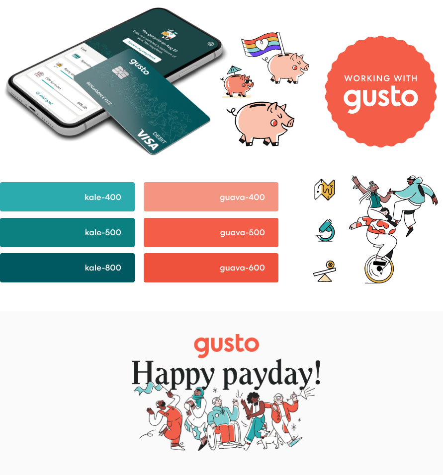 Assets from Gusto's 2019 brand refresh