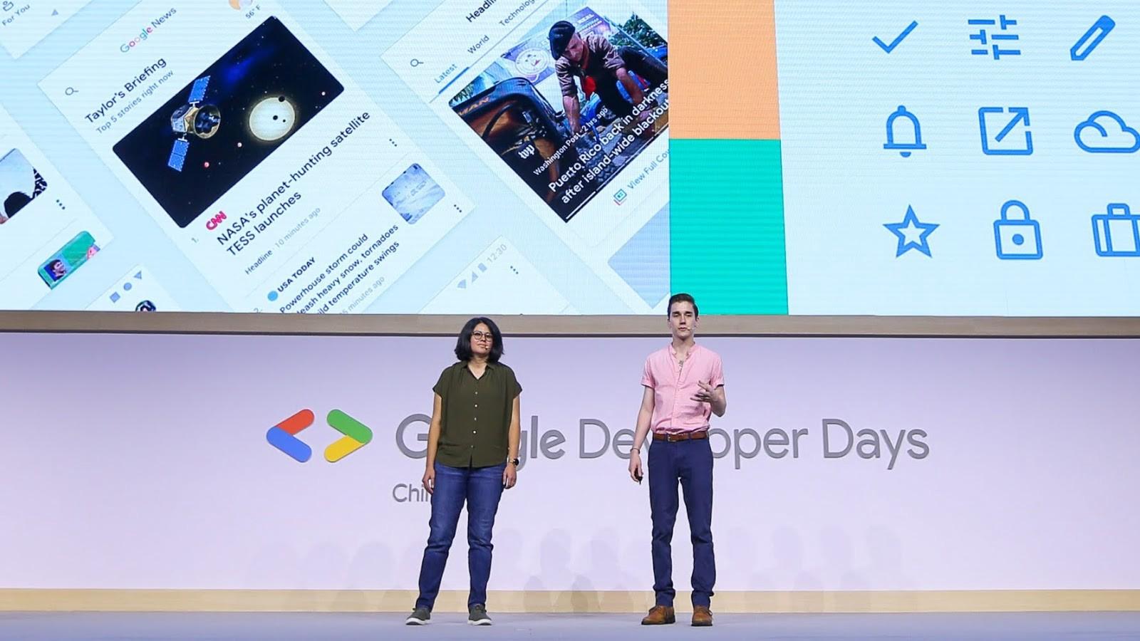 Yasmine Evjen and Liam Spradlin on stage at Google Developer Days