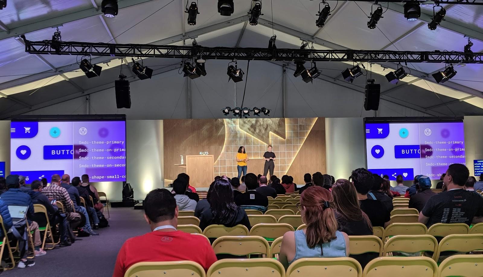 Yasmine Evjen and Michelle Alvarez on stage at Google I/O 2019