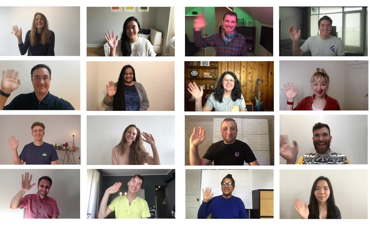 Members of the Material Design team waving
