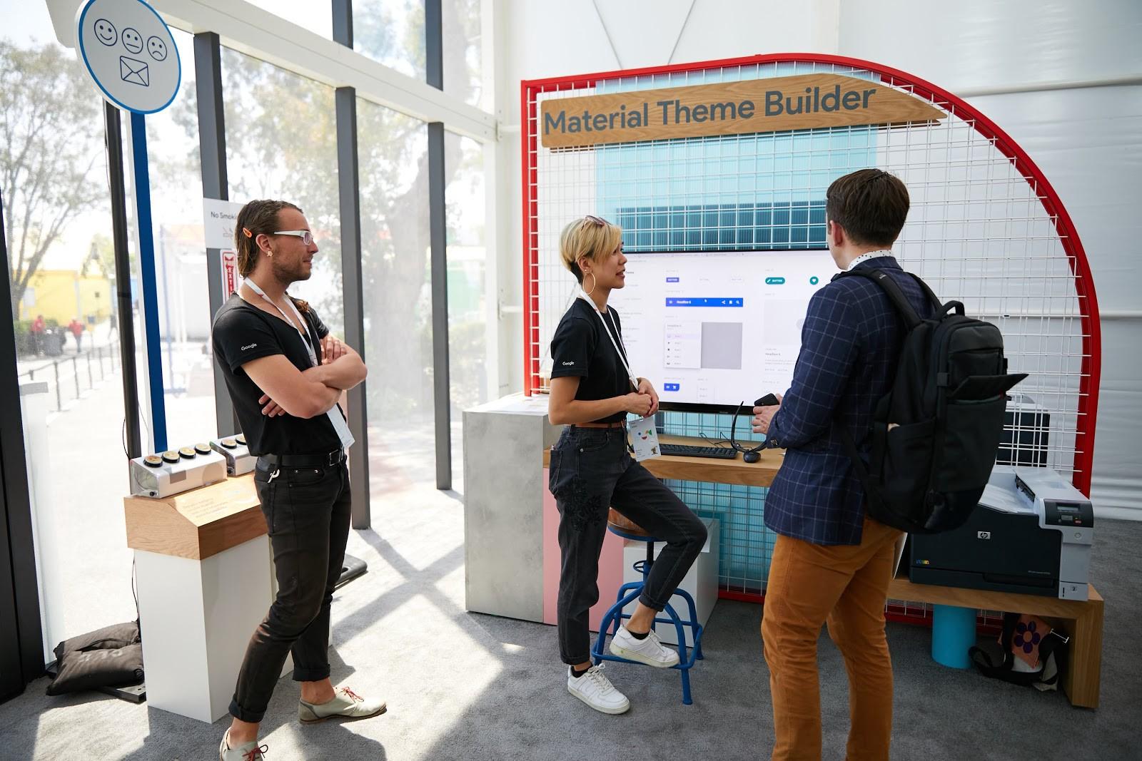 David Allin Reese and Bonnie Zhou in the Material Design sandbox at Google I/O 2019