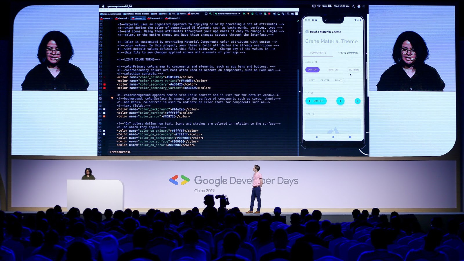 Yasmine Evjen demoing the Build a Material Theme for Android on stage