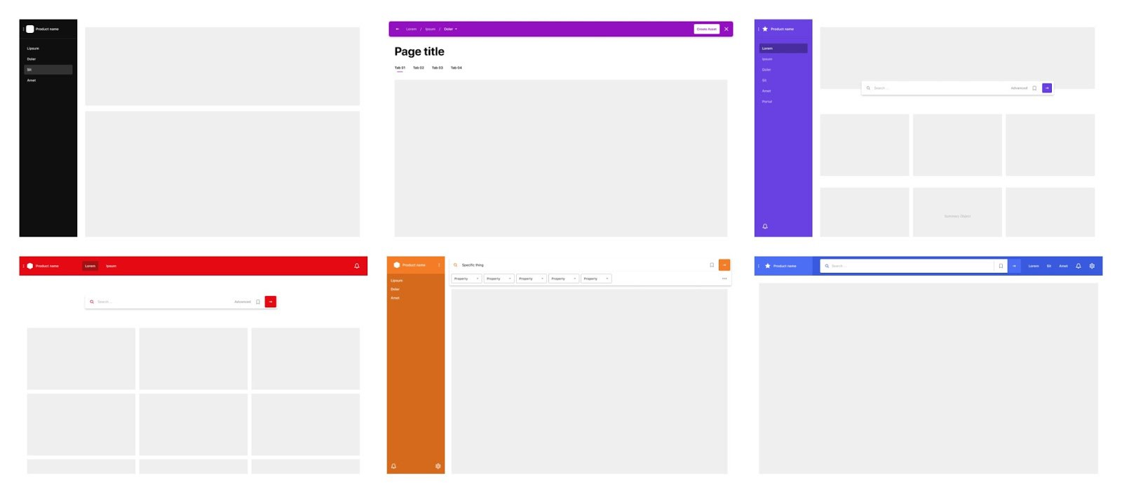 grid of UI screens with different colors